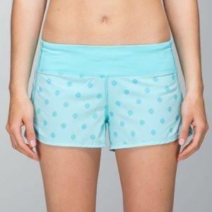 Lululemon Blue Polka Dot Running Speed Shorts